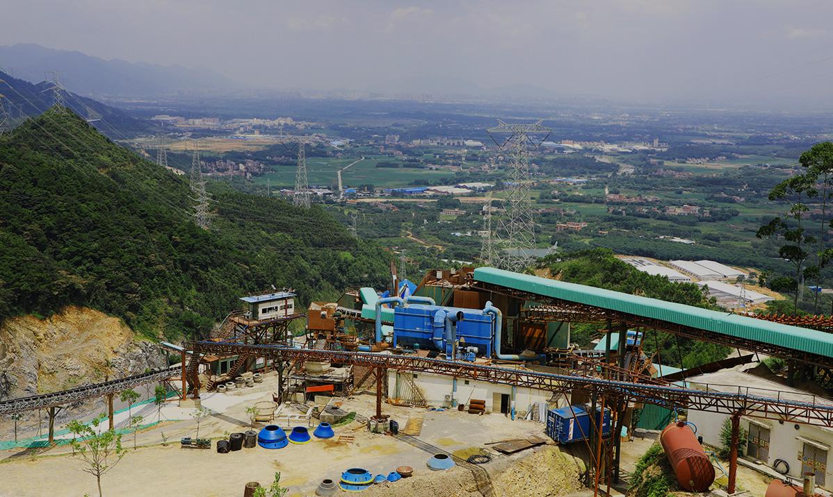 谷城砂石骨料生產線俯瞰圖