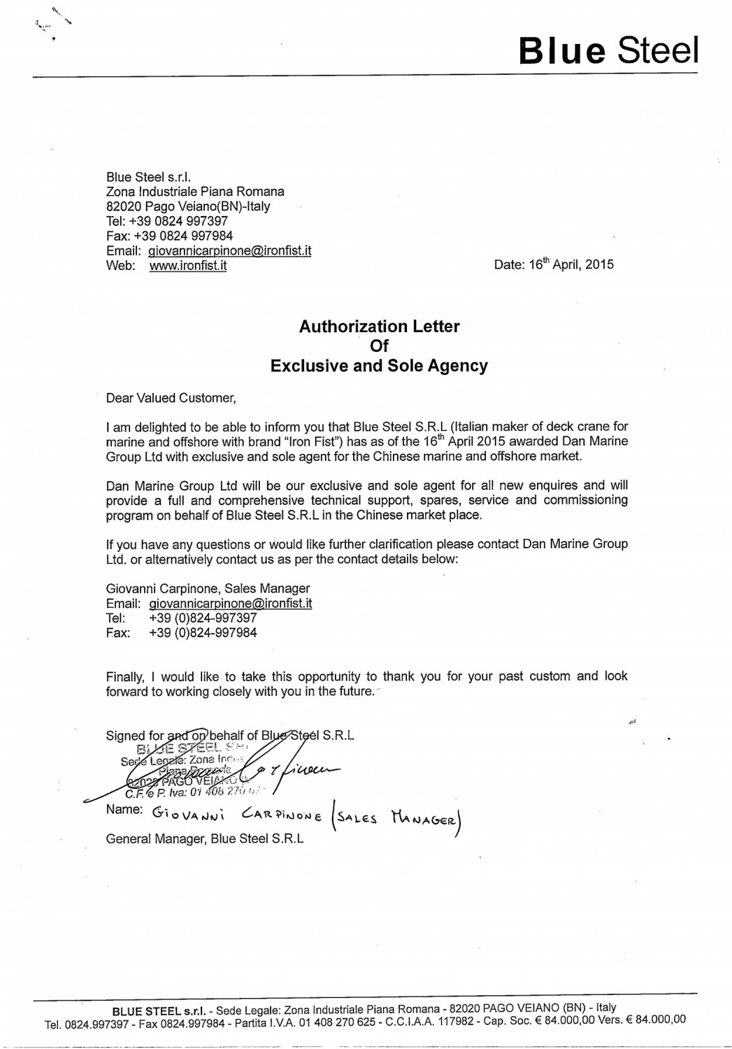 Authorization letter from Blue Steel SRL_00