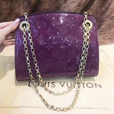 LV 紫色logo漆皮手提单肩斜挎包