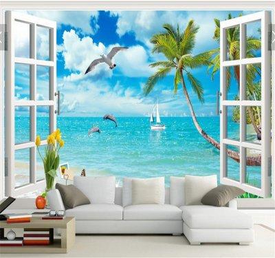 3D窗外風景椰樹海景夏威夷背景墻.png