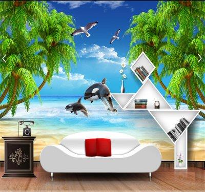 愛琴海椰子樹浪漫沙灘3d電視背景墻.png