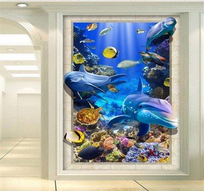 海底世界島嶼小島珊瑚海藻3D玄關背景墻.png