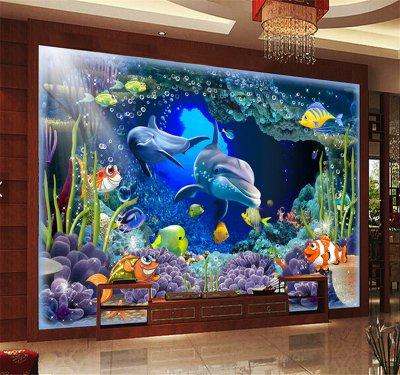 立體3D海底世界海豚母子情深電視背景墻.png