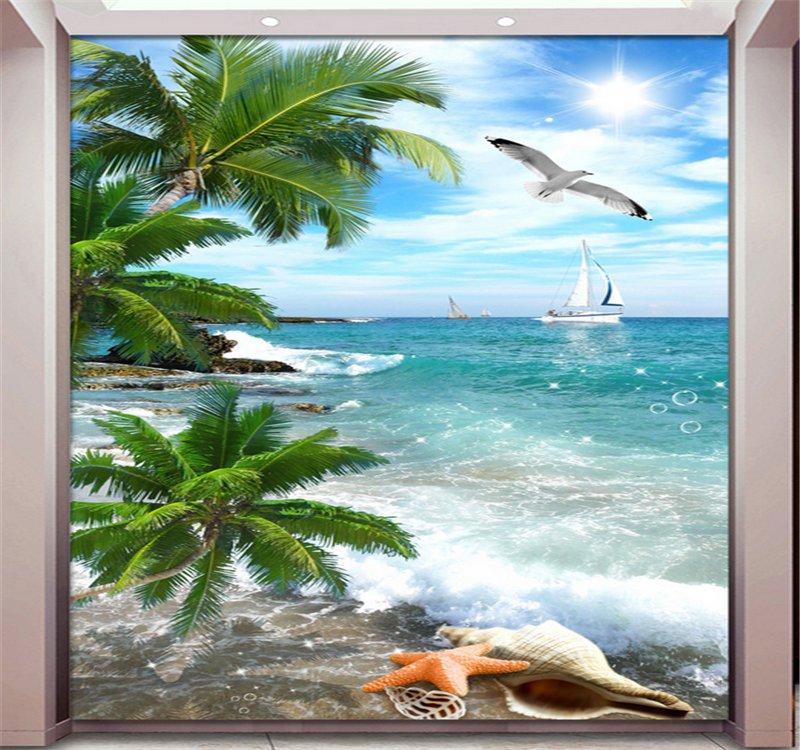 椰树海滩沙滩海边海景玄关背景墙.png