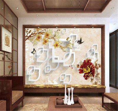 3d中式彩雕玉蘭牡丹電視背景墻.png