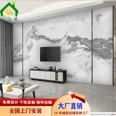 新中式抽象水墨山水爵士白大理石電視背景墻 一品瓷廠家直銷