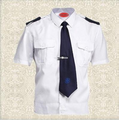 新式新款蓝灰白色保安服短袖衬衣 保安夏装短袖套装 物业工作制服