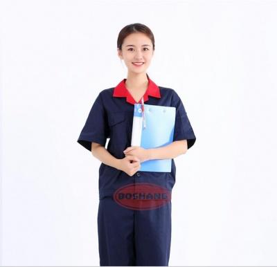 夏季工厂车间工作服套装 薄款短袖工装劳保服工衣可印字定做订制