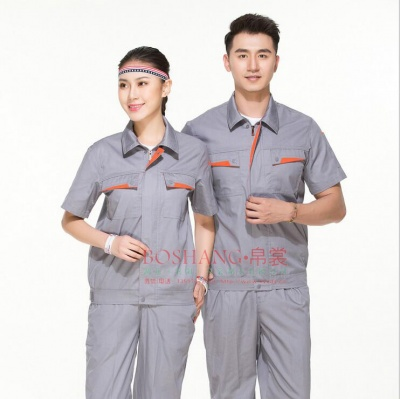 工作服劳保夏季现货短袖男女同款套装订做定制中性工服耐磨工作服
