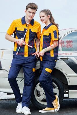 夏季涤棉细斜纹深蓝黄色插色短袖反光条工作服