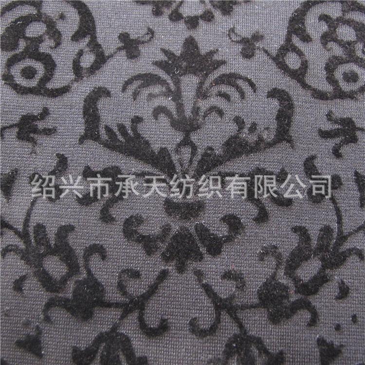 厂家直销N/R罗马布植绒30S裙子花 320-356克纬编植绒打底裤面料