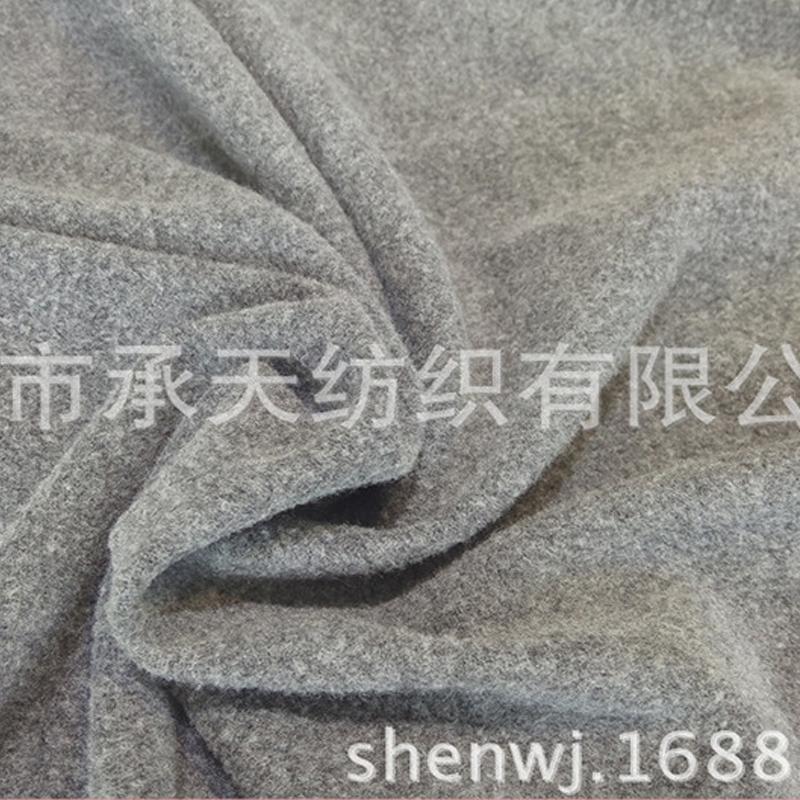 厂家直销30SNR棉涤纬编拉毛罗马布 麻灰 秋冬面料 加厚