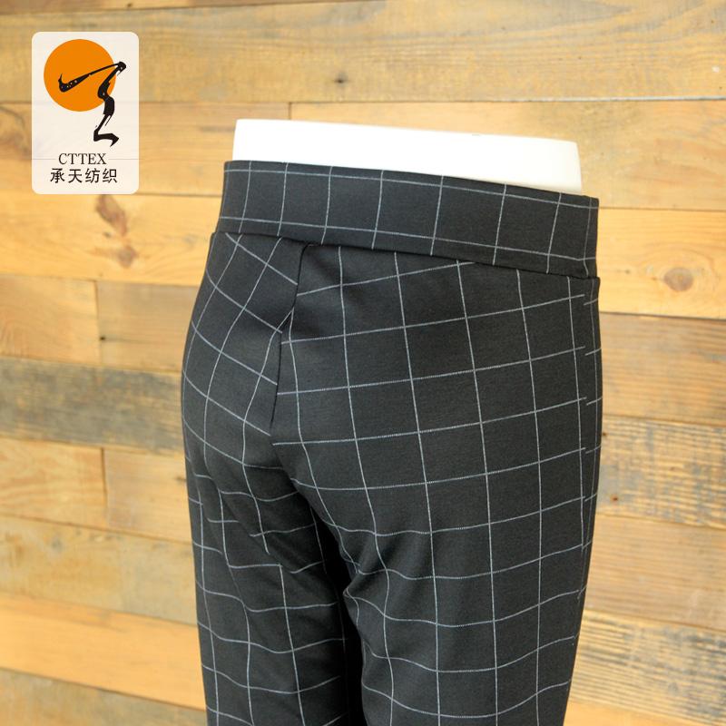 女裤春秋外穿打底裤妈妈低裤松紧高腰修身直通格子长裤
