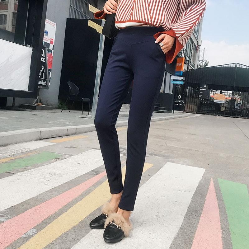 日系甜美春夏外穿百搭时尚打底裤紧身修身显瘦罗马布高弹小脚裤女
