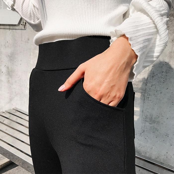 日版春夏高腰弹力针织开叉打底裤显瘦小脚裤罗马布女裤时尚百搭潮
