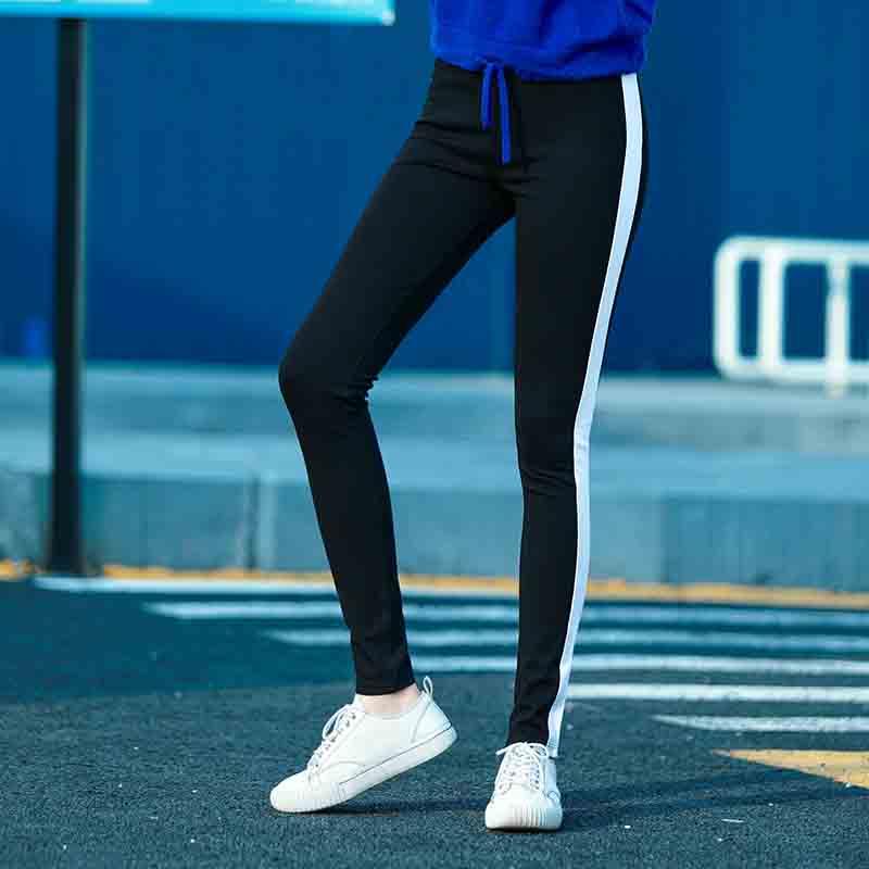 2018学生运动女外穿休闲铅笔裤弹力修身显瘦女学生百搭高腰小脚裤