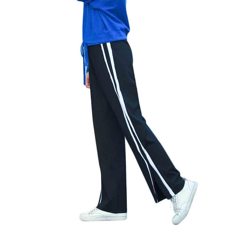2018春季新品侧边条纹撞色阔腿裤女中腰长裤子直筒休闲简约运动裤