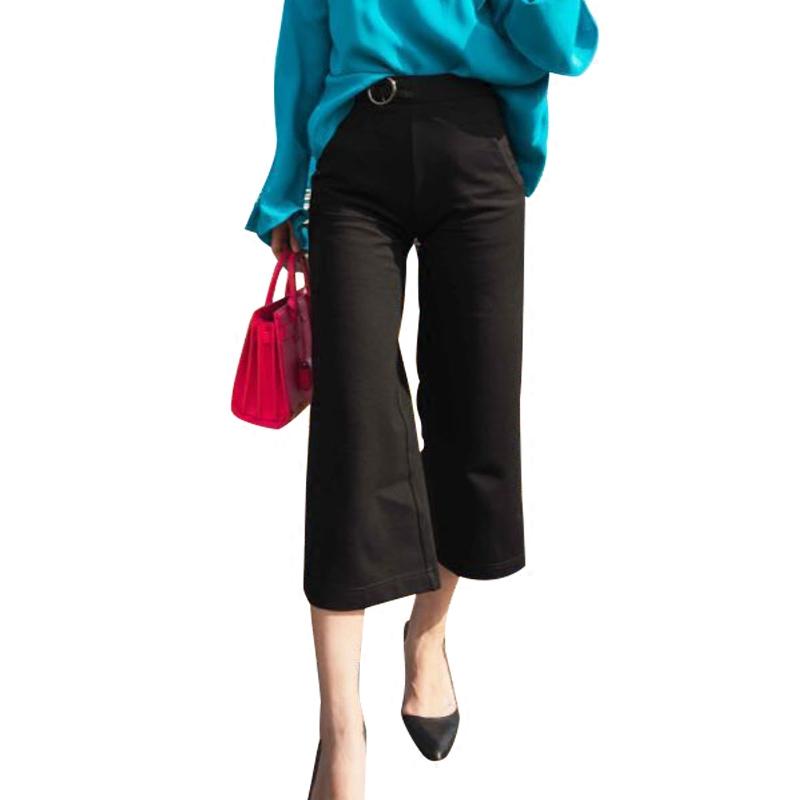 春夏新款休闲阔腿裤罗马布高腰时尚女裤九分裤显瘦韩版垂感宽松裤
