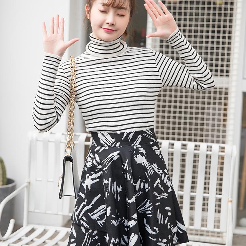 春夏新款小清新黑白短裙女修身性感a字裙气质名媛中长款半身裙女