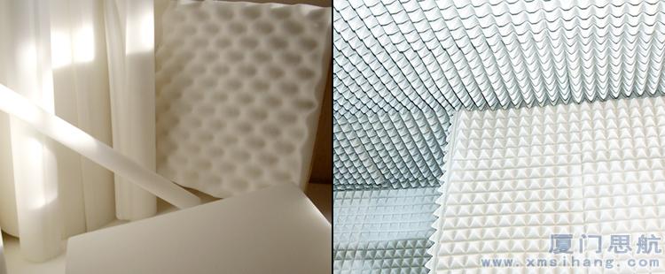 厦门思航吸音材料密胺海绵满足吸声要求,可将表面加工成锥形、契形的吸声制品