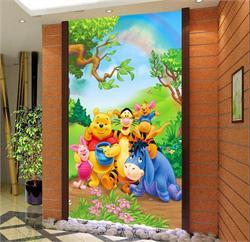 儿童电视背景墙 小熊维尼玄关背景墙