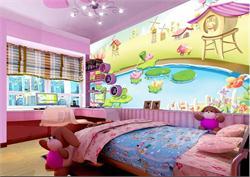 儿童房间背景墙 池塘荷花儿童背景墙