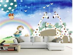 儿童沙发背景墙 温馨儿童房卡通背景墙