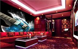 酒店KTV背景墙 蓝色电吉他震撼ktv背景墙