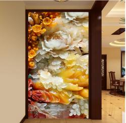 3D仿玉雕花开富贵满华堂大气客厅玄关
