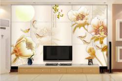 3D软包家和手绘玉兰花壁画背景墙