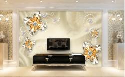 3D立体欧式宫廷风金色珠宝花朵电视背景墙2