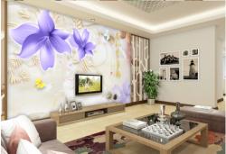 3D立体现代简约大理石紫色百合背景墙2