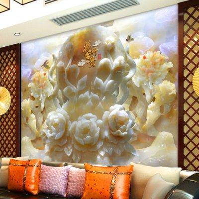 1高清玉雕浮雕牡丹花花开富贵壁画