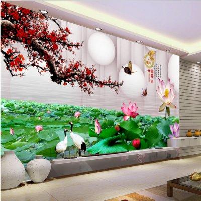 3D圆球梅花荷塘电视背景墙装饰画