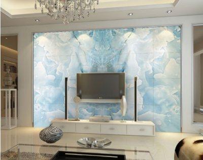 大理石材花纹仿玉电视沙发背景墙设计1