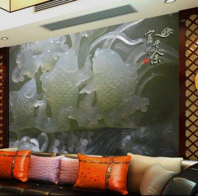 高清玉雕富贵有余荷花鲤鱼壁画背景墙