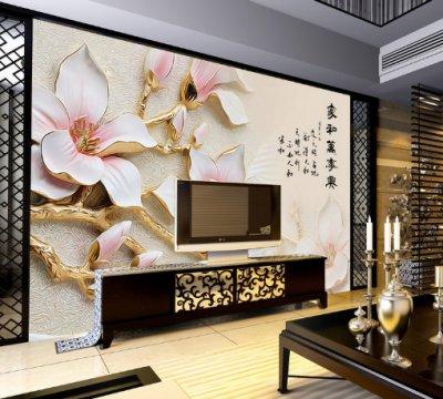 浮雕玉兰花家和万事兴壁画电视背景墙