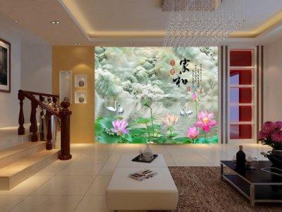 家和富贵玉雕山水荷花电视背景墙