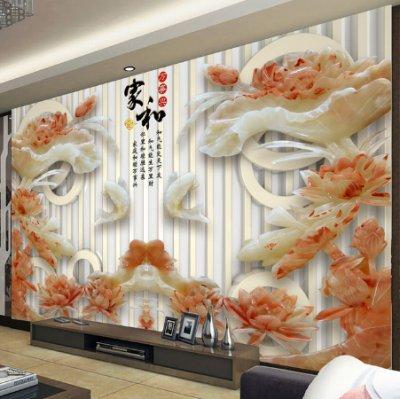 家和万事兴玉雕牡丹花背景墙壁画