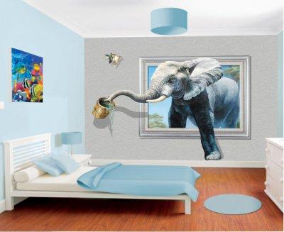3D立体大象壁画电视背景墙背景画