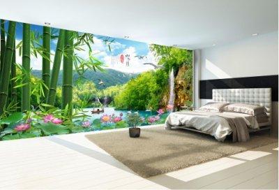 山水画沙发背景墙