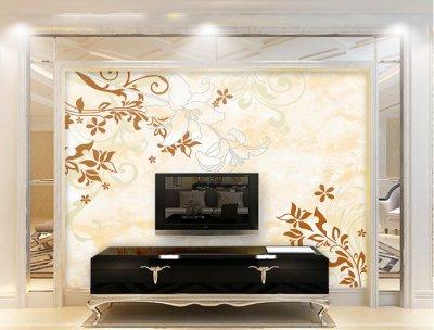 大麦花香彩雕背景墙