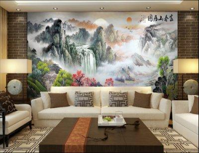 大气意境山水画彩雕沙发背景墙富春山居图
