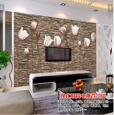 怀旧复古虞美人文化墙石头墙电视背景墙