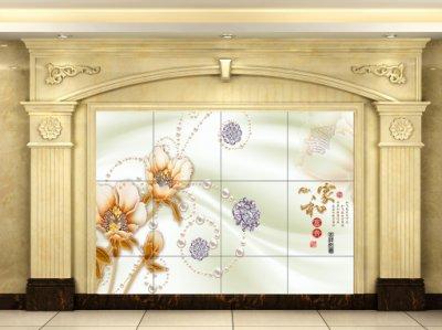 家和富贵丝绸珠宝花朵背景墙