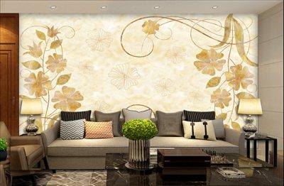 欧式花纹彩雕电视背景墙