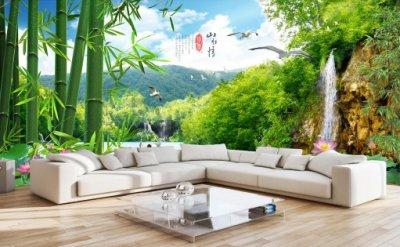 山水情风景如画竹林仙境世外桃源电视背景墙 沙发背景墙