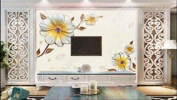 金色花朵背景墙 客厅电视背景墙
