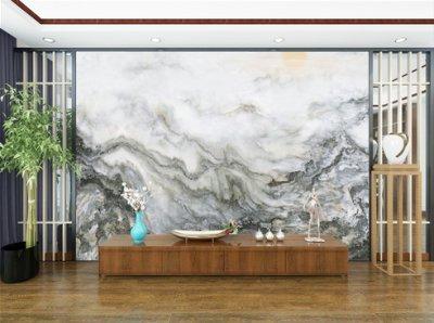 水墨山水画背景墙 客厅电视背景墙