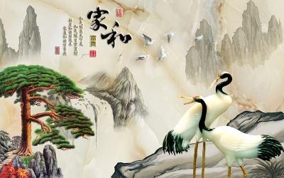 玉雕家和富贵迎客松仙鹤